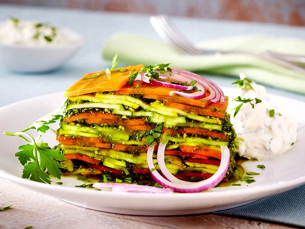 Rohe Salatlasagne Rezept
