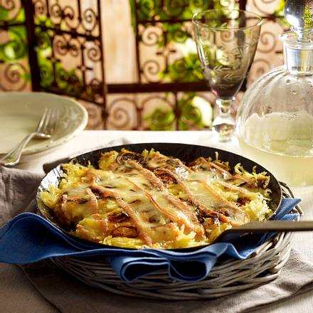 Roigabrageldi de Munster (Elsässer Bratkartoffeln mit Munster-Käse) Rezept