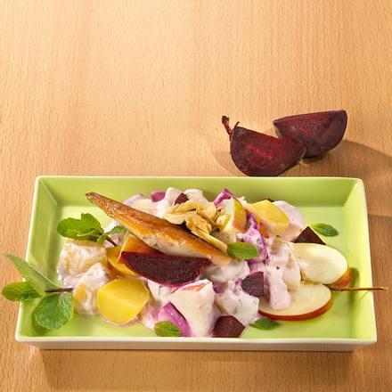 Rosa Kartoffelsalat mit Räuchermakrele (Trennkost) Rezept