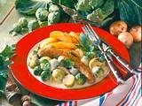 Rosenkohl mit Bratkartoffeln und Bratwürstchen Rezept