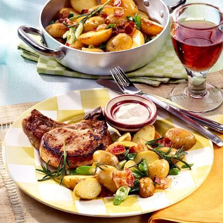 Rosmarin-Speck-Kartoffeln zu Kotelett Rezept