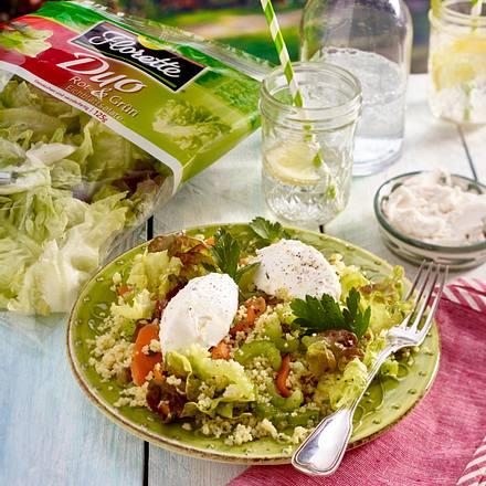 Rot-grüner Salat mit Couscous und Ziegenkäse Rezept