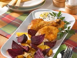 Rote Bete-Gemüse und Hähnchenkeulen mit Dip Rezept