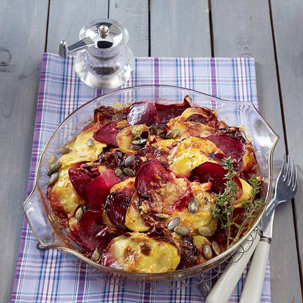Rote-Bete-Kartoffel-Gratin Rezept