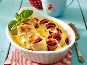 Rote Grütze-Pfannkuchen-Auflauf mit Zabaione Rezept