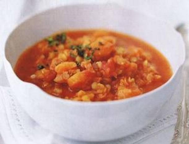 Rote-Linsen-Suppe mit Aprikosen und Kreuzkümmel von Cynthia Barcomi Rezept