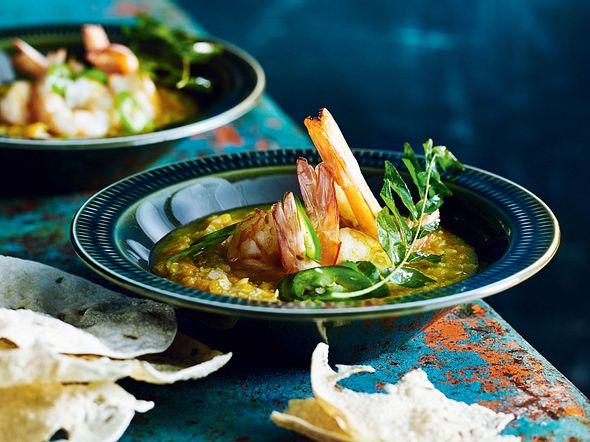 Rote-Linsen-Suppe mit Garnelen Rezept