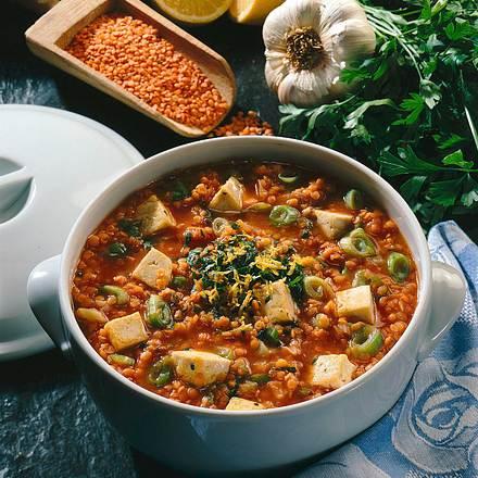 Rote-Linsen-Topf mit Tofu Rezept