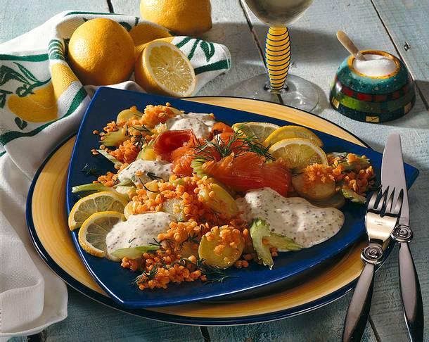 Rote Linsensalat mit Lachs Rezept