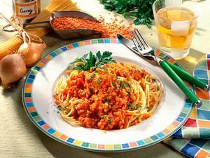 Rotes Linsencurry mit Spaghetti Rezept