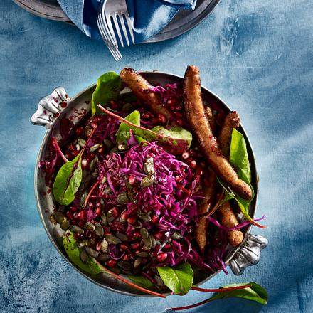 Rotkohl-Salat mit Kürbiskernöl und Granatapfel Rezept
