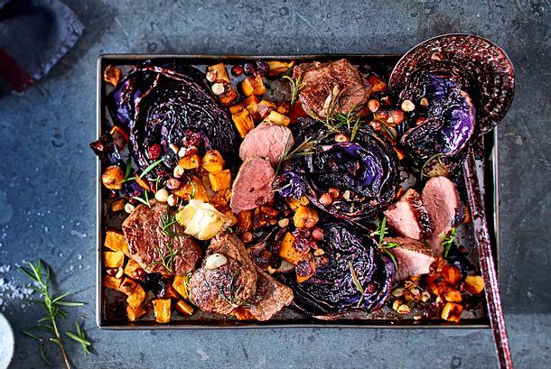 Rotkohl-Steaks mit Süßkartoffeln Rezept