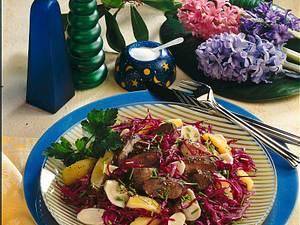 Rotkohlsalat mit Putenleber Rezept