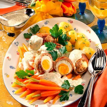 Rouladen in Kräutersoße und junges Gemüse Rezept