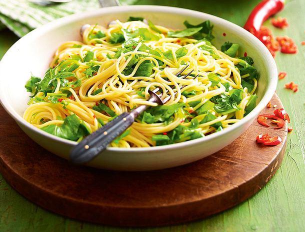 Rucola-Lemon-Spaghetti mit Chili-Öl