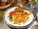Rührei mit Lachs auf Kartoffelpuffer Rezept