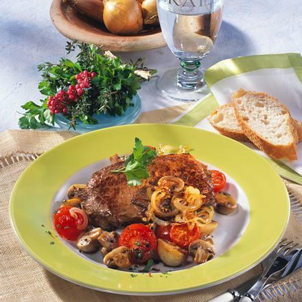 Rumpsteak mit Tomaten-Pilzgemüse (Diabetiker) Rezept