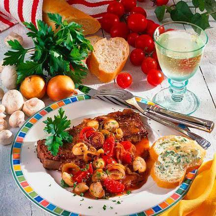 Rumpsteak mit Tomaten-Pilzsoße Rezept
