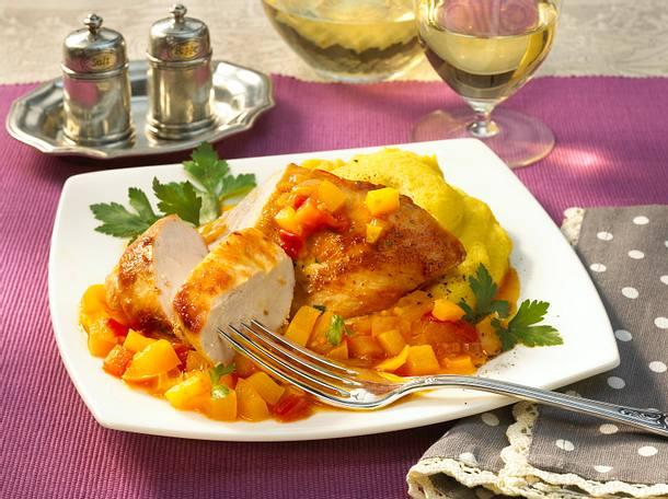 Safran-Hähnchen mit Paprika Rezept