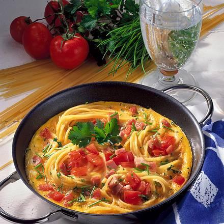 Saftiges Spaghetti-Omelett Rezept