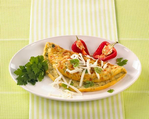 Sahne-Käse-Omelett (für 2 Personen) Rezept