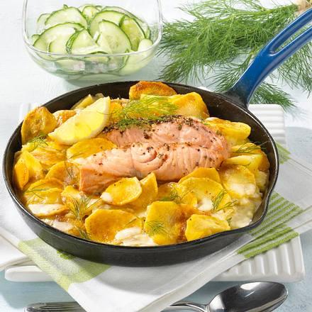 Sahne-Kartoffeln mit Lachs Rezept