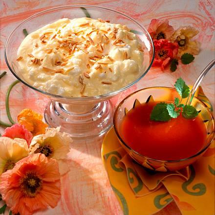 Sahne-Pudding mit Eischaum und Pflaumensoße Rezept