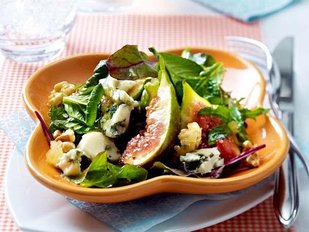 Salat mit Feigen, Roquefort und Ingwer-Dressing Rezept