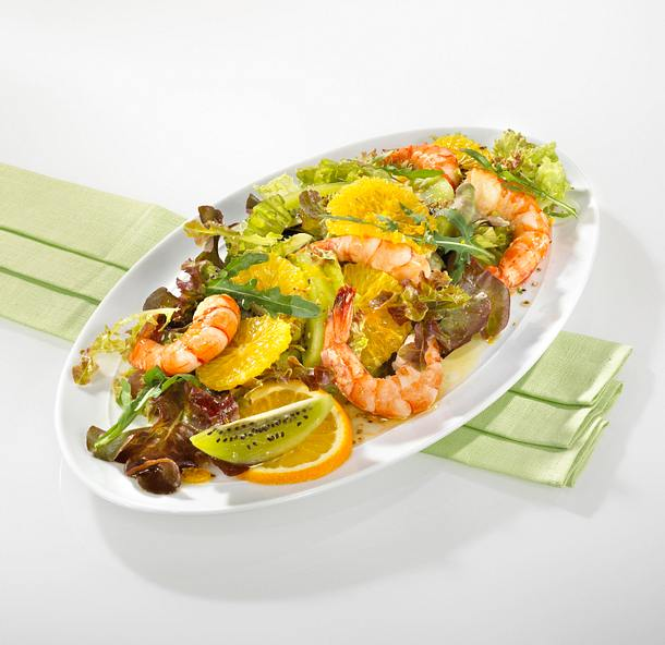 Salat mit Garnelen und Kiwi Rezept