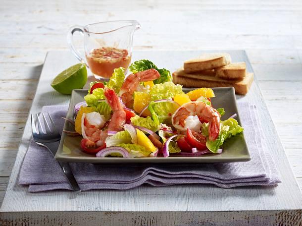 Salat mit Garnelen und Orangen Rezept