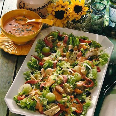 Salat mit Rindersaftschinken und Melone Rezept