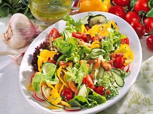 Salat mit Schnitzelstreifen Rezept