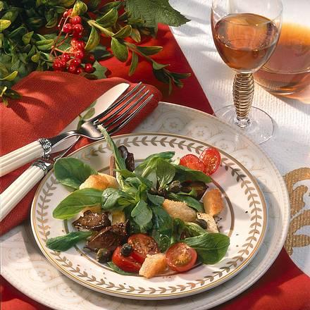 Salatteller mit Geflügelleber Rezept