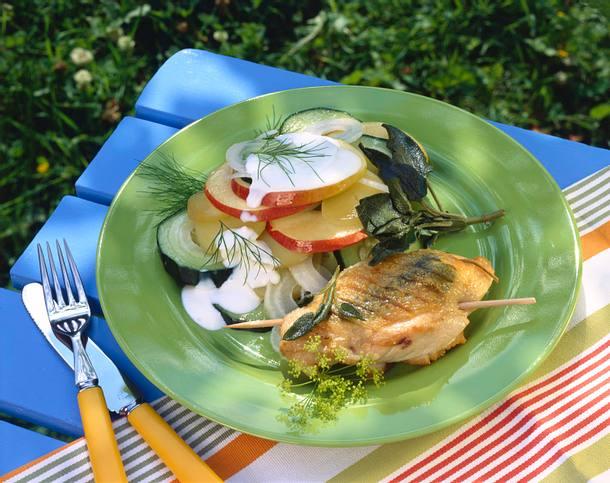 Salbeihähnchen mit Kartoffelsalat Rezept