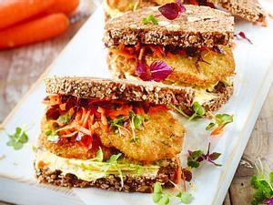 Sandwich mit Gemüse-Bratling Rezept