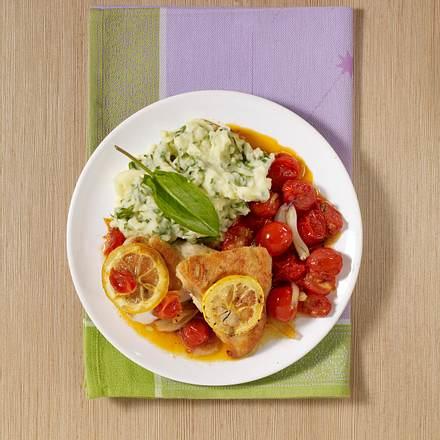 Sauerampfer-Kartoffelpüree mit Zitronenhähnchen Rezept