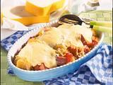 Sauerkraut-Auflauf mit Kartoffeln, Paprika und Leberkäse Rezept