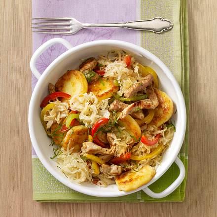 Sauerkraut-Knödelpfanne Rezept