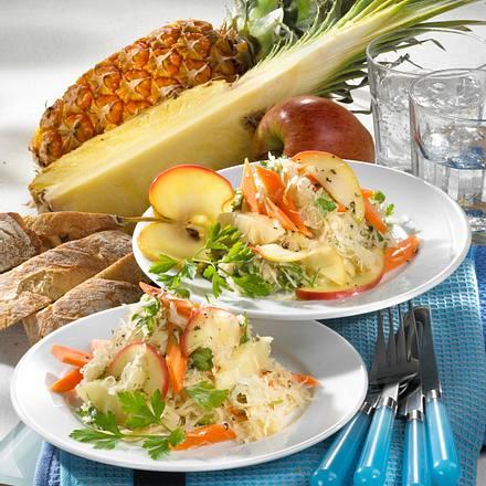 Sauerkraut-Möhren-Ananas-Apfel-Salat Rezept
