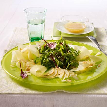 Sbrinz-Carpaccio mit Babysalat und Feigensenf-Vinaigrette Rezept