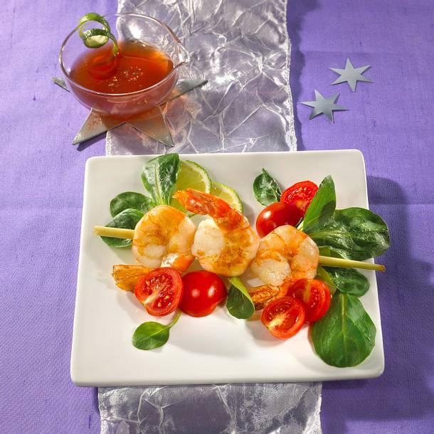 Scampi-Zitronengras-Spieße mit Kirschtomaten und Limettensoße Rezept