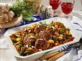 Schafskäse-Frikadellen mit geschmortem Bohnen-Gemüse Rezept
