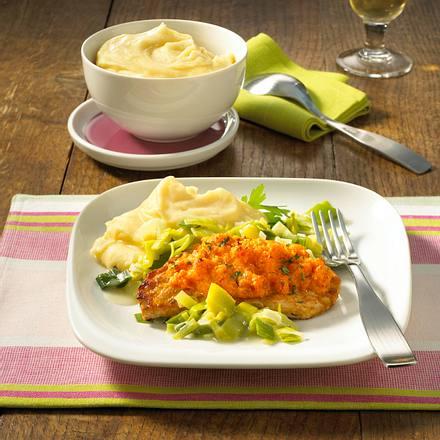 Scharfes Käse-Schnitzel mit Porreegemüse Rezept