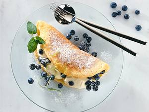 Schaumomelett mit Heidelbeer-Limonenmousse Rezept