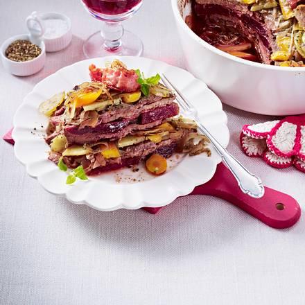 Schichttopf mit Rouladenfleisch Rezept
