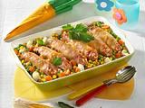 Schinken-Cannelloni auf Buttergemüse Rezept