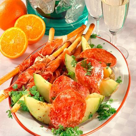 Schinken-Grissini & Melonenschiffchen Rezept