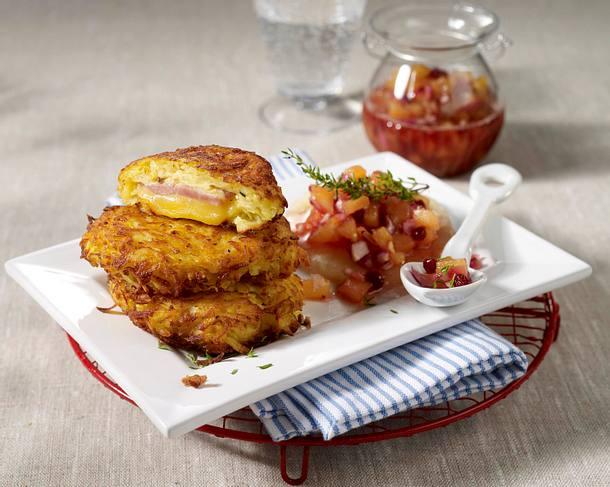 Schinken-Käse-Rösti mit Ananas-Chutney Rezept