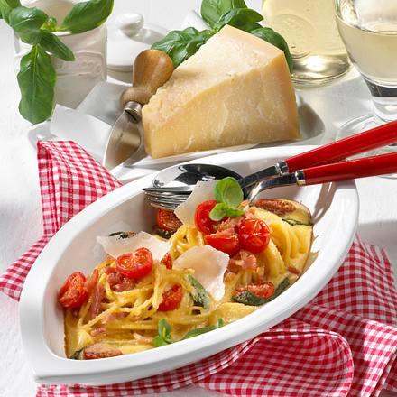 Schinken-Spaghetti mit Tomaten Rezept