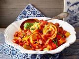 Schinken-Tortellini mit Paprika in Tomatenrahm Rezept